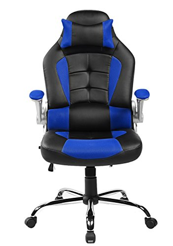 41huP3kKFWL - Merax-King-Series-High-back-Ergonomic-Pu-Leather-Office-Chair-Racing-Style-Swivel-Chair-Computer-Desk-Lumbar-Support-Chair-Napping-Chair-Blue