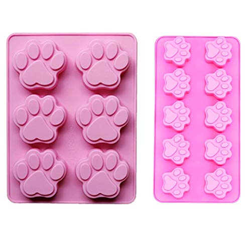 (2 PACK Combo Mini & large Silicone DOG Pet Animal Paw Print Ice Cube Chocolate Soap Candle Tray Mold Party maker (Ships From)