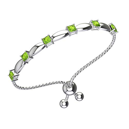 (Belinda Jewelz Womens 925 Sterling Silver Sparkling Square Bolo Gemstone Adjustable Tennis Style Pull String Birthstone Jewelry Fine Bracelet, 2.1 Carat Natural Green Peridot, 11 Inch Box Chain)