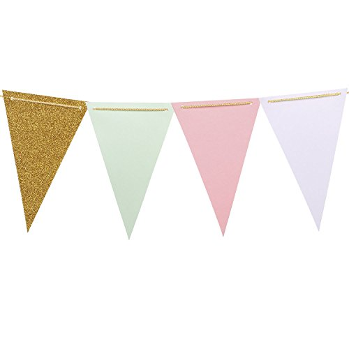 Fairy Baby Shower (Ling's moment 10 Feet Paper Banner Flags Triangle Flags Banner Vintage Style Pennant Banner for Wedding, Baby Shower, Event & Party Supplies, 16pcs Flags(Mint+White+Pink+Gold Glitter))