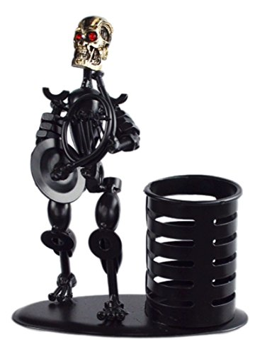 Metal Black Art Hand-made Skull Musician Pen Container Holder Desk Decoration (French Horn) A05512 (Horn Deco French)