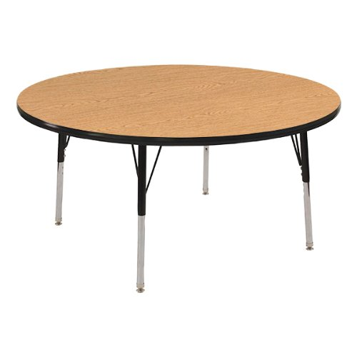 Norwood Commercial Furniture  Adjustable Height Round Activity Table, 48'' Diameter, Oak/Black, NOR-RCERD48C-OKBK by Norwood Commercial Furniture