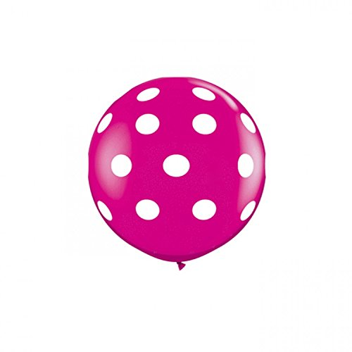 Koyal Wholesale Round Latex Giant Balloon (Pack of 2), 3', Polka Dots Wild Berry ()