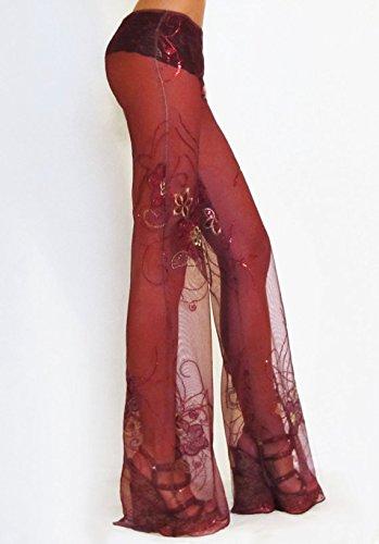 Sequin Embroidered Merlot Bell Bottom Pants/Rave Pants/ Flare/ Boho/ Festival/ Hippie/ Dance/ Gypsy/ Belly Dance/ Burning Man/ Playa Attire