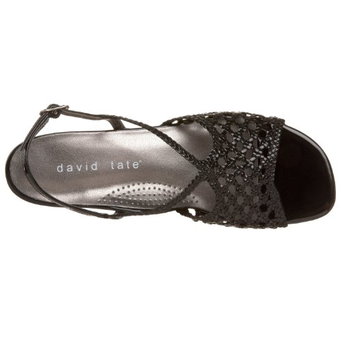 David Tate Womens Bravo Woven Sandal Black Patent SA0AHNZD