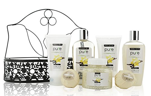 Spa Gift Basket By PURE! Beautiful Metal Basket Gifts for Men with Lush Bath Bombs, Bubble Bath & Perfume Body Lotion Mens Gift Set! Natural Spa Basket Best Gift for Husband, Father, All Mens Gifts