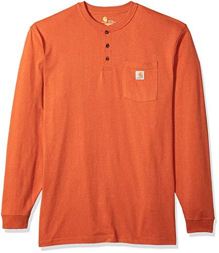 (Carhartt Men's Big & Tall Workwear Pocket Long Sleeve Henley Shirt, Rustic Orange Heather, 3X-Large )