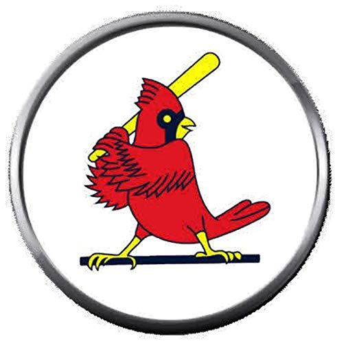 (MLB St Louis Cardinals at Bat Baseball Logo 18MM - 20MM Snap Jewelry Charm)