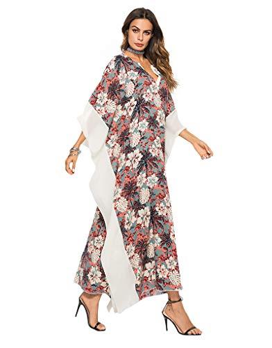 (Exlura Women's Boho Floral Kaftan Dress Beach Tunic Long Maxi Dress Beach Cover Up Plus)