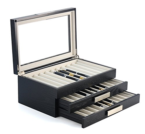 (30 Piece Black Ebony Wood Pen Display Case Storage and Fountain Pen Collector Organizer Box with Glass Window Three Level Display Case with Drawers)