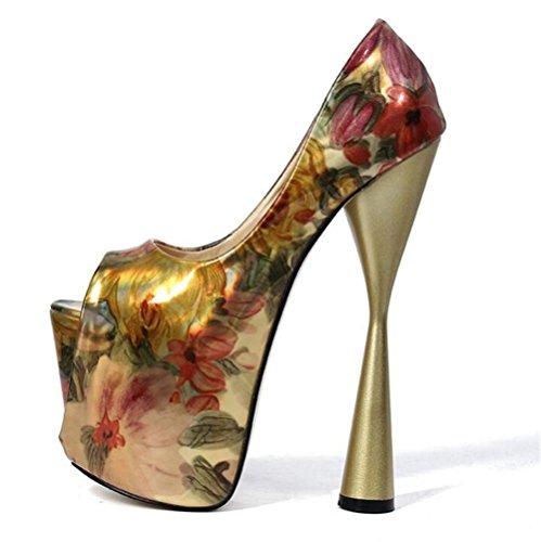 35 alto Heel Scarpe da e sandali Stampare da donna GAOGENX Toe piattaforma Festa a Tall Club EU41 Open Pompe serata 41 TSwAgqWx