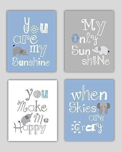 Elephant Nursery Decor, Baby Boy Nursery Art, Blue and Gray Nursery, Art or Boys Room, Baby Boy Shower Gift Idea, Boy Nursery Decor, Set of Four 8x10