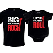 Nursery Decals and More Big Brothers Rock Outfit, Little Brother Roll, Includes Large (14-16) & 3-6 mo