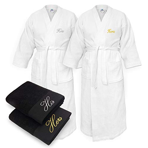 - Kaufman - His and Hers Embroidered Elegant SPA Bathrobes 100% Cotton - Waffle Kimono Set of Robes with His and Hers Black Towel Set 30''x58'' 4-PK