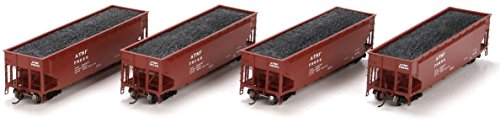 Athearn HO Scale 40' 3-Bay Offset Hopper/Load Santa Fe/ATSF (Brown) 4-Pack #1