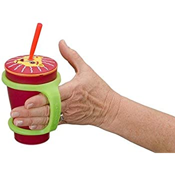 EazyHold Sippy Cup/Baby Bottle Holder, Eating and Drinking Aids (2 Pack) for Special Needs - Universal Cuff - Cell Phone - Remote Holder - Adaptive Utensil and Drinking Aid - 100% Silicone (Sippy)