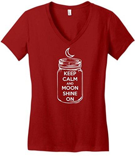 Keep Calm and Moon Shine On Juniors V-Neck Medium Classic Red