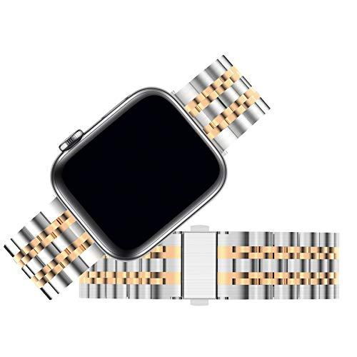 Fullmosa Stainless Steel Bands Compatible with Apple Watch Band Series 5 4 3 2 1 Rose Gold for Women Men Metal Wristband 38mm 40mm 42mm