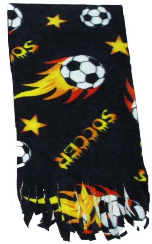 Soccer Fleece Anti-pill Scarf - Black (Brand (Football Fleece Scarf)
