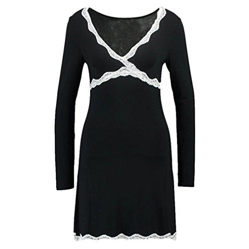 Hibote Mujeres Camisones de algodón Modal Sleepshirts Camisa de Dormir de Manga Larga Sexy Vestido de Mujer Ocasional Vestido de Dormir de la Vendimia: ...