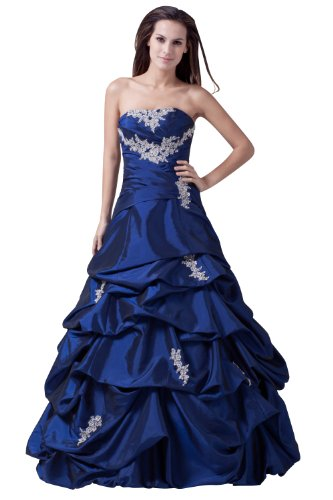 ImPrincess ip4-5195-8 Wedding Dress Medieval Style Dipped Strapless Tie Delicate Beading Lace Applique Long Sweep Ball gown Blue (Dress Strapless Tie Taffeta)