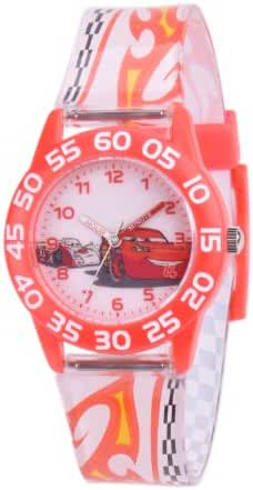 Disney kids' W001199 Cars Plastic Time Teacher red bezel, printed plastic strap watch