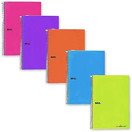 CL0548 - Pack de 8 cuadernos tapa plástico, TAMAÑO PEQUEÑO A5, 80 hojas, 90 gramos, cuadros 4x4mm: Amazon.es: Oficina y papelería