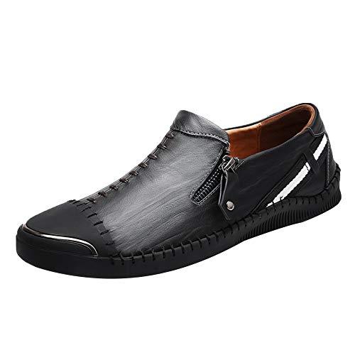 noir 40 EU Mocassins Mocassins Cuir Plat De La Mode des Hommes Glissent sur des Chaussures De Bateau De Conduite (Noir)