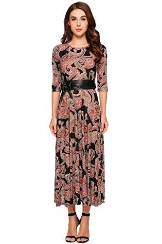 Women Casual 3/4 Sleeve Vintage Print O Neck Elegant Party Maxi Dress With Belt (Plus Size 90s Fancy Dress)