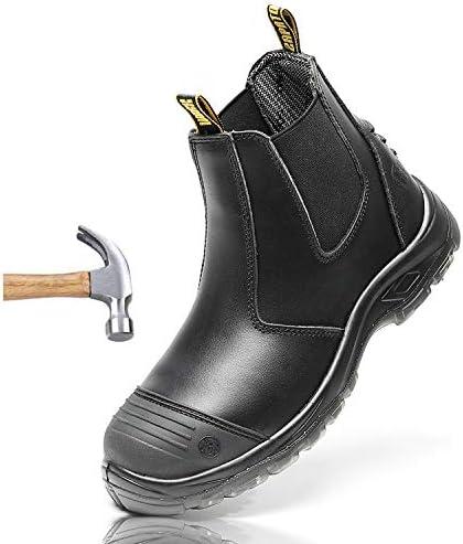 作業靴 軽半長靴 メンズ セーフティーブーツ 耐油 滑りにくい 大きいサイズ 防水素材 静電安全靴 ショートタイプ ブーツ ワークマスター ブラック