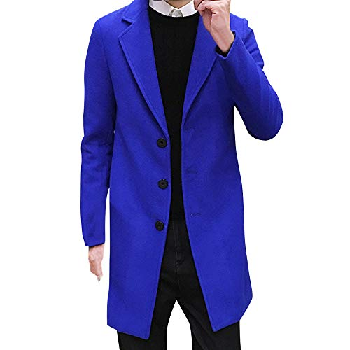 ZEFOTIM Men Formal Single Breasted Figuring Overcoat Long Wool Jacket Outwear Plus(XXX-Large,Blue)
