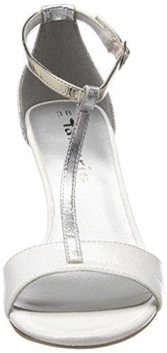 Noir Comb Femme Bride 28392 Tamaris Cheville Sandales white Blanc Xpxqf