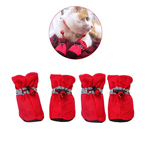 YAODHAOD Dog Boots Paw Protector, Anti-Slip Dog Shoes,These Comfortable Soft-Soled Dog Shoes are with Reflective Straps, for Small Dog(4 red)