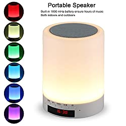 Night light bluetooth speaker, Tranesca Portable Wireless Bluetooth Speaker with 7 color LED light, warm night light and alarm clock