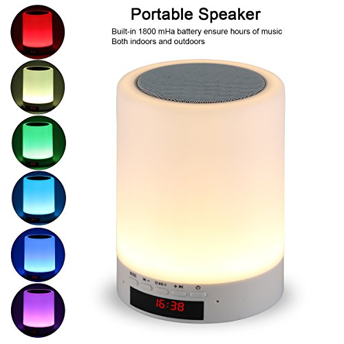 Night light bluetooth speaker, Tranesca Portable Wireless Bluetooth Speaker with 7 color LED light, warm night light and alarm clock (Computer All In One Table)