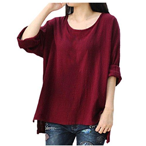 OverDose grande blusas L tops ocasionales XXXXL Rojo para mujer manga larga Vino tamaño flojos suaves camisetas r5WnFwqPr