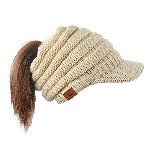CHIDY Women's Cable Knit Visor Hat With Flower Accent Solid Color Noble Hat Dressing Elegant Style Cap