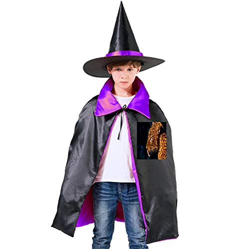 One of my Black Spot Leopard Print Halloween Shawl and Witch Hat for Children Kids Purple -