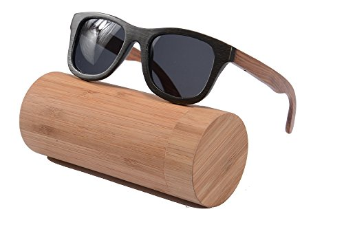 Polished Wood Sunglasses Wooden Wayfarers Polarized Flash Mirror Lens with Case- Z6016(bamboo black/pear,grey)