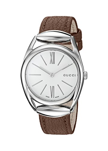 Gucci Women's Swiss Quartz Stainless Steel and Leather Dress Watch, Color:Brown (Model: YA140401)