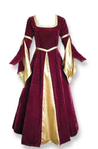 Renaissance Medieval Gown with Satin Panel Insert and Ribbon Accents