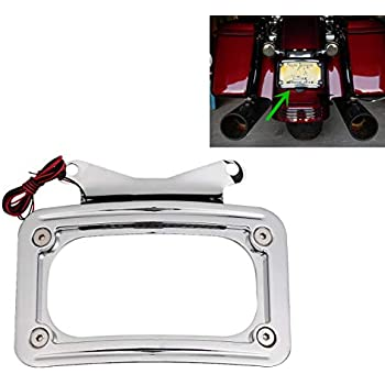 Chrome Curved Laydown License Plate Bracket For Harley Road Street Glide 10-16