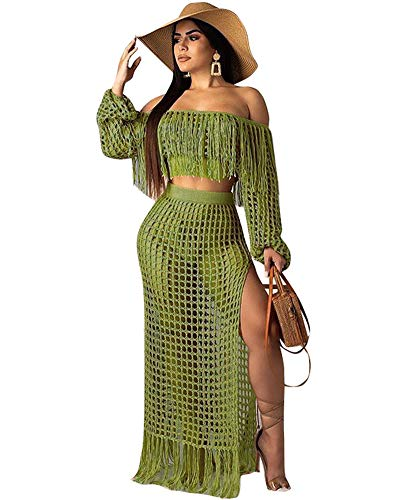 Ekaliy Women Sexy Two Piece Outfits - Maxi Dresses Swimwear Cover ups Off Shoulder Tops with Tassel Green L