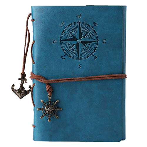 Leather Writing Journal Notebook, MALEDEN Classic Spiral Bound Notebook Refillable Diary Sketchbook Gifts with Unlined Travel Journals to Write in for Girls and Boys (Sky -