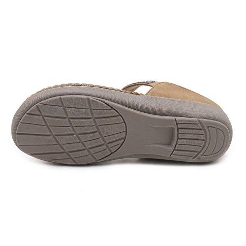 Xiaoqi Chaîne Grande Unis Les Confort 2018 Nouvelle Diamant États Taille Marron Chaussures Sandales et LIANGXIE Plates Europe ZHqPz