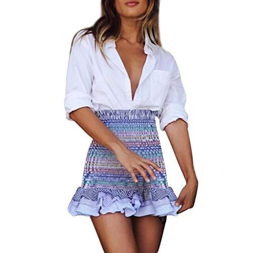 Lavany  Women's Ruffled Beach Skirt Sexy High Waist Stripe Summer Skirts for Girls Blue by Lavany  (Image #6)