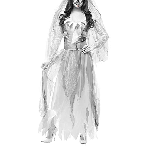 Asymtrique Longues Dmon Robe Zombi Lisli Thme Femme Robe Soire Dguisement Manches de de Dentelle Costume Blanc Mariage XxX0wzUqf
