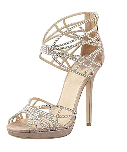 WAZMM AZZ High-Heeled Shoes, Women's Fish Mouth, Rhinestones, Waterproof Platform, Fashion Wedding Shoes, Banquet, Daily 8CM, Increased Matte