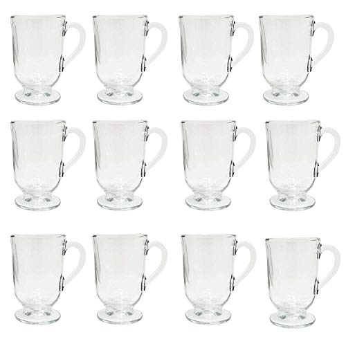 Irish Coffee Glass Mugs Footed 10.5 oz.Thick Wall Glass For Coffee, tea, Cappuccinos, Mulled Ciders,Hot Chocolates, Ice cream and More-Set of 12 ()