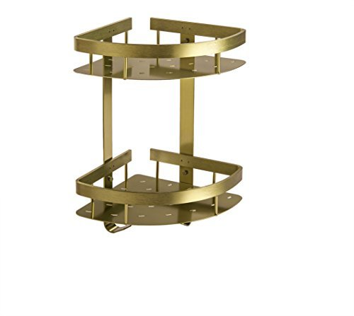 Cloud Power Bathroom Aluminum Dual Tier Corner Shower Caddy Basket Storage Shelf Champagne Color Brass Double Corner Shower Basket